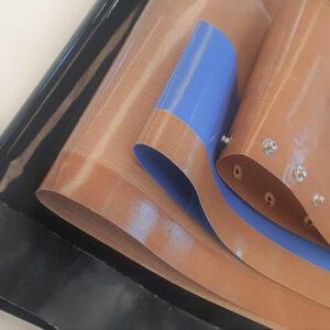 Correias antiaderentes de fibra de vidro revestida de PTFE e acabamentos personalizados
